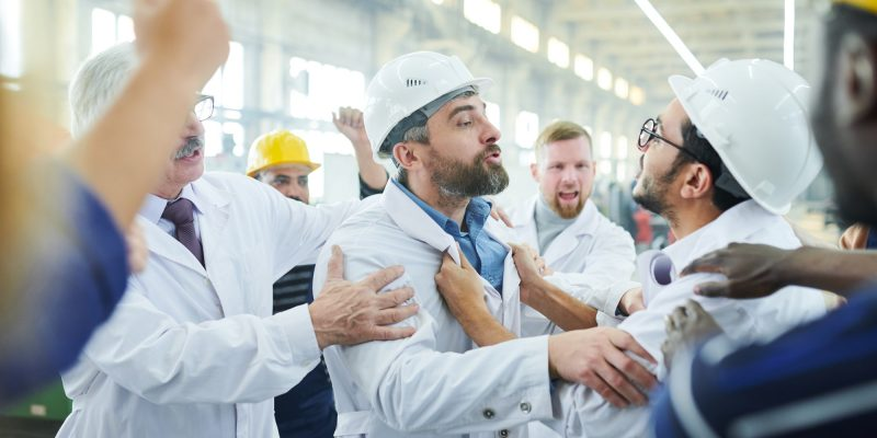 Factory Workers Fighting